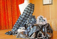Hand woven Clark tartan items, all in silk. Designed and made by Lorna in Scotland in Exclusively Yours.
