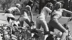 Biker girls heading out for a little ride.