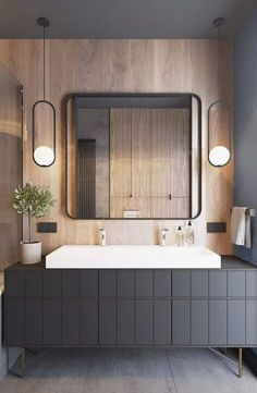 30 Cool And Modern Bathroom Mirror Ideas. 30 Cool And Modern Bathroom Mirror Ideas - Trendecora. The latest modern bathrooms are equipped with not only the necessary plumbing, but also all kinds of interior details that […] Modern Bathroom Mirrors, Bathroom Mirror Design, Grey Bathrooms, Modern Bathroom Design, Bathroom Interior Design, Beautiful Bathrooms, Modern Interior Design, Home Design, Design Ideas