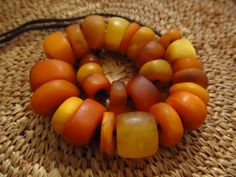 Natural Antique African Amber Beads