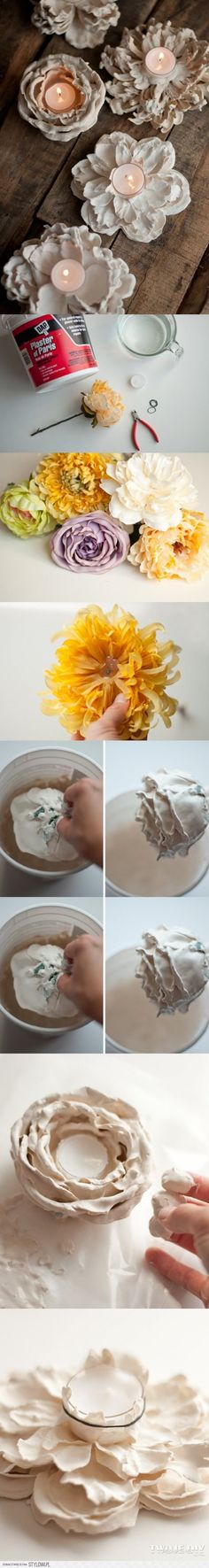 Beautiful DIY Candle Holders – Great Ideas & Tutorials for Special Occasions DIY Romantic Plaster Dipped Flower Votives. I can't believe how easy it is to make these beautiful flower votives at home. Tutorial via Diy Home Decor Projects, Diy Projects To Try, Crafts To Do, Craft Projects, Arts And Crafts, Decor Crafts, Diy Candle Holders, Diy Candles, Beeswax Candles