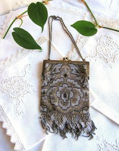 victorian glass beaded purse