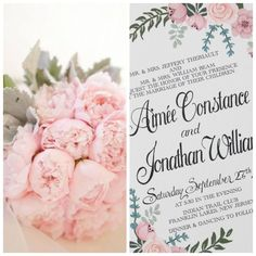 Gorgeous hand painted floral wedding invitation in pale pink and green hues. Ask us how we can create a color customized design just for you!