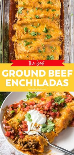 Enchilada Recipes, Meat Recipes, Healthy Dinner Recipes, Mexican Food Recipes, Cooking Recipes, Ground Beef Enchiladas, Mexican Dishes, Ground Beef Recipes, Cinco De Mayo