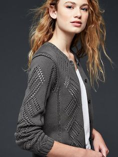 Pointelle cardigan | Gap  *Love this sweater, would love in this color but moreso in a pink, burgundy, ivory, hunter, brown or pretty plum shade.*