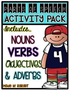 This ELA bundle will be a great resource to teach the parts of speech to your little ones. Filled with Common Core Aligned activities, this pack will become an integral part of your instruction. Adjective Worksheet, Verb Worksheets, Adjectives Activities, Color Posters, English Adjectives, Nouns And Verbs, Action Verbs, Word Sorts, Adverbs