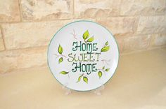 Plate for home decor Home Sweet Home // Hanging plate от LekaArt, $34.00