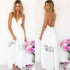 fe53f35b8d Long Sundress,Hemlock Women Sleeveless Backless Beach Party Dress White  Mini Dress, White Halter