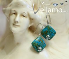 Earrings with mosaic turquoise gemstones modern by byVellamo, $18.00