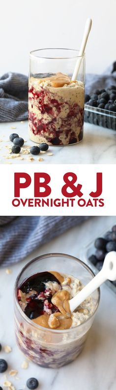 peanut butter and jelly overnight oats are the perfect way to start off your morning! They're made with a peanut butter overnight oatmeal base and topped with your favorite jelly giving you tons of fiber, protein, and a whole lotta lovin'. Breakfast And Brunch, Breakfast On The Go, Breakfast Recipes, Vegan Breakfast, Breakfast Fruit, Breakfast Ideas, Peanut Butter Breakfast, Mexican Breakfast, Breakfast Sandwiches
