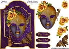 Masquerade Rose Screen Card on Craftsuprint designed by Karen Adair - This gorgeous screen card front features a stunning Masquerade mask, beautifully embellished and adorned with a Rose. Decoupage is included along with three sentiment tags, one left blank for you to personalise if you wish. If you like this check out my other designs, just click on my name. - Now available for download!