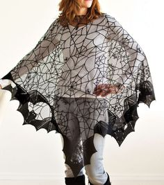 Halloween Costume Spooky Spider Webs and Bats Poncho