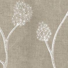 Cute for a throw pillow! Printed Linens: Wisteria Natural White via Allegra Hicks