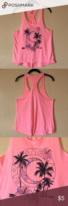 ✨SALE✨ Hot Pink Moon Racerback Tank Gently used. No damage. Smoke free home.  Hot pot pick racerback tank top with tribal moon design.  ❤️ Feel free to make me an offer -- All reasonable offers will be considered!  ❤️ Bundle & save! Purchase 2 or more items from my closet and receive 30% off!  ❤️ Unfortunately no offers will be accepted on bundles. Thanks for understanding!  xoxo - Ashley Faye No Boundaries Tops Tank Tops