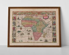 Old Map of Africa, originally created by Willem Janszoon Blaeu, now available as a 'museum quality' wall decor print. Old World Maps, Vintage World Maps, Africa Map, Historical Maps, Travel Posters, Kenya, Giclee Print, Create Yourself, Egypt