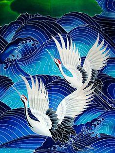 Tsuru - Cranes in Japanese kimono fabric Japanese Textiles, Japanese Patterns, Japanese Fabric, Japanese Prints, Japanese Design, Japanese Kimono, Japanese Waves, Traditional Japanese Art, Japanese Style