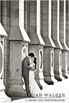 Salt Lake City Temple. Bride and Groom. Navy blue and white wedding colors.  Dress by Penelope.