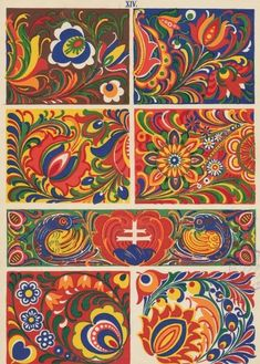 Slovak Ornaments- Slovenská ornamentika - Kostelníček Štefan L. Folk Art Flowers, Flower Art, Folk Embroidery, Embroidery Designs, Thinking Day, Arte Popular, Painting & Drawing, Oil Painting Tips, Watercolor Paintings Abstract