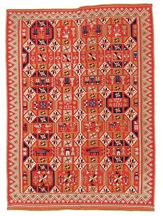 BED COVER. Double-interlocked tapestry. Scania, Sweden, 1838. Färs/Gärds/Villands district.