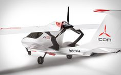ICON 100 A5: includes retractable landing gear for flying off land and water, a carbon fiber airframe, a 100-hp/120-mph Rotax 912 ULS engine (that runs on both auto and aviation gas), and folding wings.