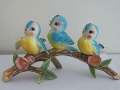 3 Bluebirds Sitting on Branch Anthropomorphic Norcrest 1950s