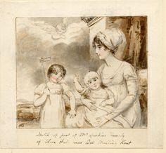 Portrait of Mrs Larking with two of her children, formerly in an album, late 18th or early 19th century. British Museum 1884,0426.16