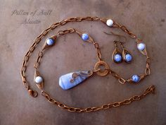 Necklace and earring set, Wire Wrapped jewelry handmade, copper jewelry, boho jewelry, wire jewelry, blue quartz pendant, blue agate, earthy on Etsy, $50.00