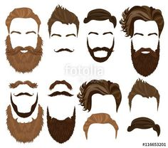 Vector: Man hair, mustache and beard collection. Men Hipster realistic fashion retro elements.