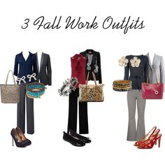 """""""3 Fall Work Outfits"""" by mileybeauty on Polyvore"""