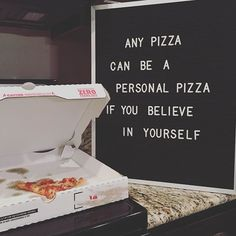Got my letter board from @letterfolkco today!!! I knew immediately that this quote needed to be on it. We ❤️ pizza. And we believe in ourselves. I'm going to have so much fun with this thing! #letterboard #letterfolk