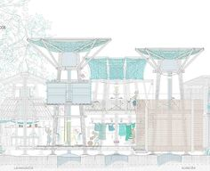 beatriz fuentes lugares comunes pfc - Buscar con Google Architecture Graphics, Architecture Drawings, Architecture Design, 3d Presentation, Section Drawing, Still Frame, Working Drawing, Architectural Section, Concept Diagram