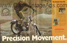 Sammy Miller teams with Honda Honda Trials 125 TL 125 vintage magazine advertisement. Vintage Honda Motorcycles, Trials, Ads