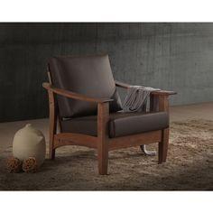 Baxton Studio Phanessa Mid-century Modern Walnut Wood and Dark Brown Faux Leather 1-seater Lounge Chair