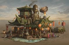 Welcome to the World of Steampunk Imagine a high-tech world where the machines were powered by steam and clockwork mechanisms replaced electronics. Asian Steampunk, Steampunk City, Steampunk Artwork, Steampunk House, Steampunk Cosplay, Steampunk Crafts, Minecraft Steampunk, Steampunk Illustration, Anime City