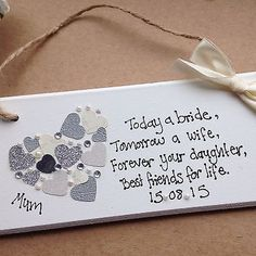 personalised Gift Chic Heart Plaque Mother Of The Bride Wedding Present Add Date