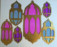 Andrea's Arabian Nights: My own props: Lanterns cutouts before detailing with gems More