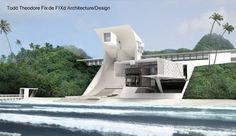 Renderizado de un proyecto de casa de playa futurista y sustentable
