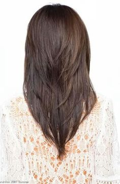 V shape layered cut. Would like a longer version for Z with layers starting at her shoulder.