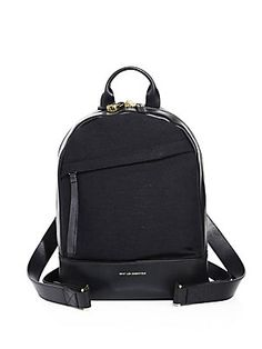 WANT Les Essentiels Mini Piper Leather & Crepe Backpack - Black
