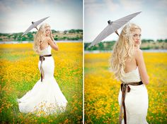 bridal photo session where are we going to find a field of flowers @Courtney Baker Parsons
