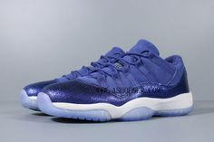 This Blue Moon colorway ditches the usual mesh and patent leather with a new constructed build. Unlike the other Air Jordan 11 Low releases, this Blue Moon colorway ditches the usual mesh and patent leather with a new constructed build. Featuring a suede upper with a cracked leather mudguard. A White midsole and icy translucent outsole completes the design. Air Jordan 11 Low, Nike Air Jordan 11, Nike Air Max, Air Max Sneakers, Sneakers Nike, School Shoes, Blue Moon, Patent Leather, Air Jordans