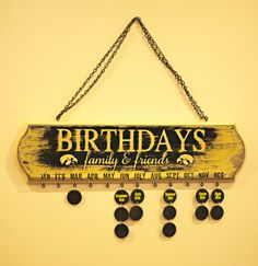 Iowa Hawkeyes Family Birthday Wall Hanging by MyCreativeShoppe