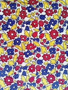 1 yard  Cotton country floral fabric. Red blue and by JeAdore, $7.50