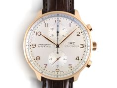 IWC Portugieser Chronograph 40.9MM Watch, Fashioned in 18K Rose Gold, Featuring a Silver Dial, Brown Alligator Strap and Automatic Movement