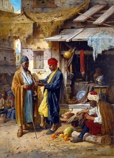An Eastern Market 1894 by L. Urbán - Hungarian . 19 c  Oil on canvas , 100.3 x 73.8 cm
