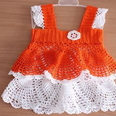 Orange and White Summer Girl Dress click on the numbers (#1 & #2) after picture