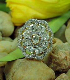 Buy Silver Flower Shape Designer AD Ring Online