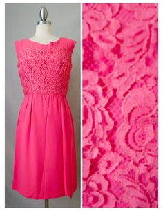 60s Vintage Hot Pink Lace Mini Dress Appx by RedLightVintageShop
