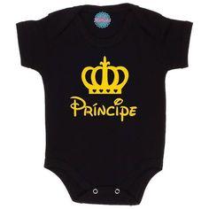 Body Bebê Masculino 'Príncipe' Preto