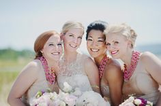 Champagne and Pink Bridesmaids. Necklaces by Amrita Singh.